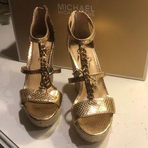 Michael Kors wedge sandals metallic gold